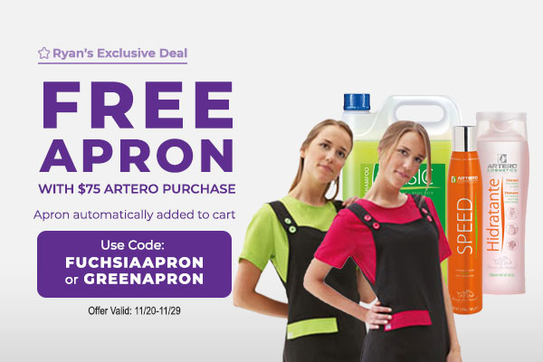 Free Apron with $75 Artero Purchase - Apron automatically added to cart with Code: FUCHSIAAPRON or GREENAPRON